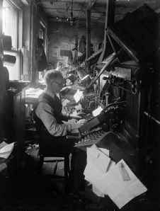 Typesetters at the Linotype.