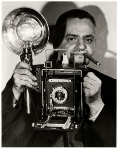 """Weegie"" with his trusty 4x5 Speed Graphic."