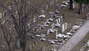 Toppled headstones at Chesed Shel Emeth Cemetery in University City, Mo. (Photo courtesy of KTTN News)